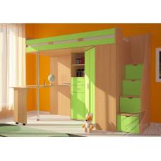 Кровать чердак Мийа - зеленая